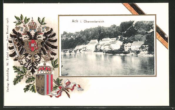 Passepartout-Lithographie Ach, Ortsansicht vom Fluss aus