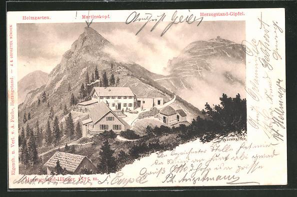 Künstler-AK Rudolf Reschreiter: Herzogstand-Häuser, Heimgarten, Martinskopf und Herzogstand-Gipfel