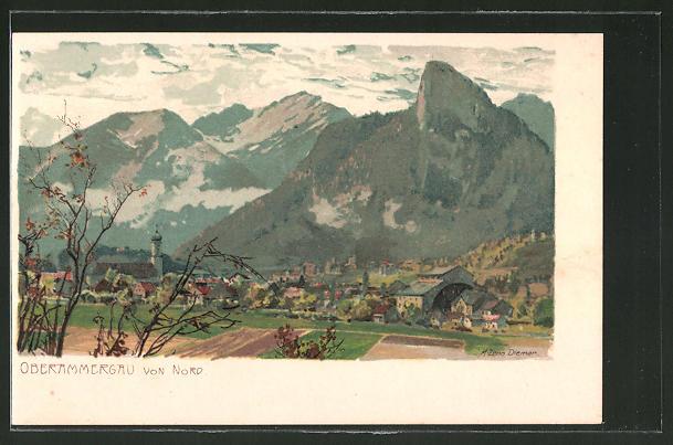 Künstler-Lithographie Zeno Diemer: Oberammergau, von Nord gesehen