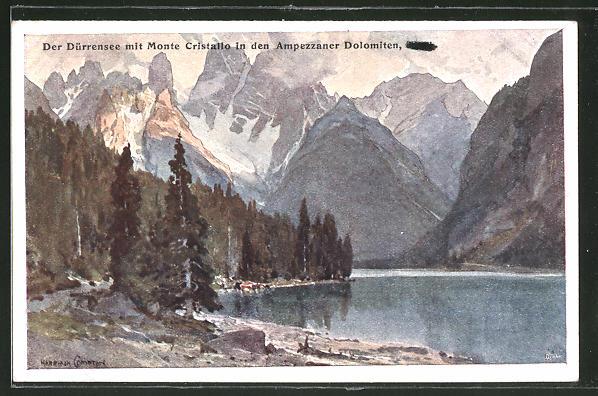 Künstler-AK Edward Harrison Compton: Der Dürrensee mit Monte Cristallo in den Ampezzaner Dolomiten