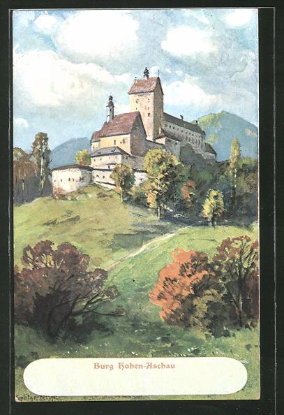 Künstler-Lithographie August Splitgerber: Burg Hohen-Aschau