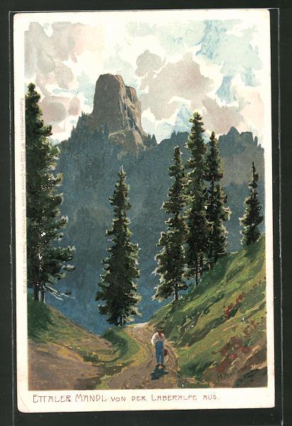 Künstler-Lithographie Zeno Diemer: Ettaler Mandl, von der Landeralpe aus gesehen