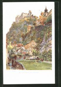 Künstler-AK Edward Theodore Compton: Hohensalzburg, von Nonntal gesehen