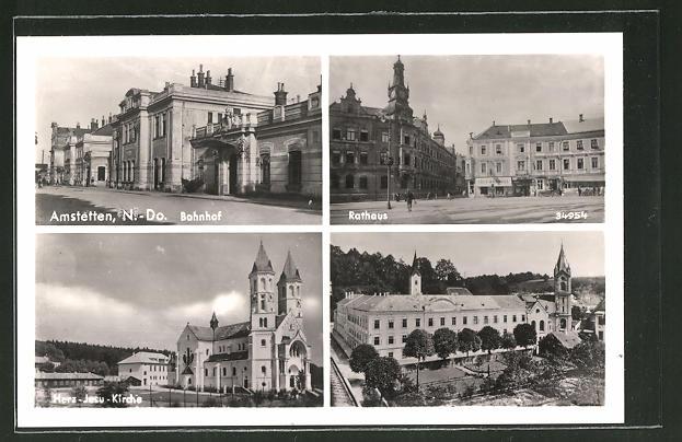 AK Amstetten, Bahnhof, Rathaus, Herz-Jesu-Kirche