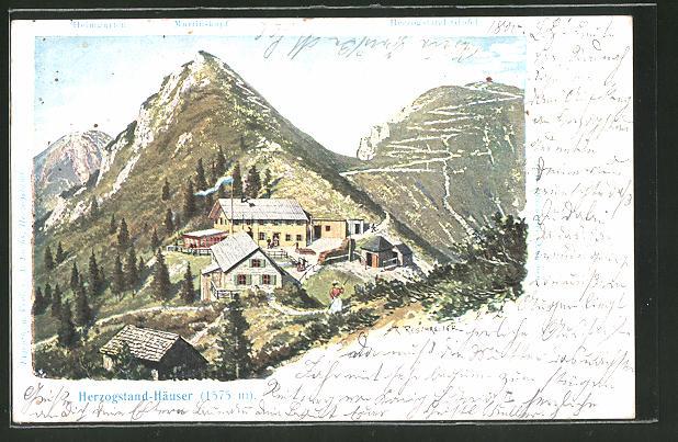 Künstler-Lithographie Rudolf Reschreiter: Herzogstand-Häuser