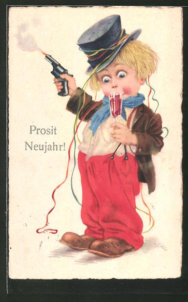 Künstler-AK Herschu: Prosit Neujahr!, Komischer kleiner Kerl