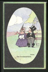 Künstler-AK Anny Tekauz: Der Unwiderstehliche, Lustiges kleines Paar