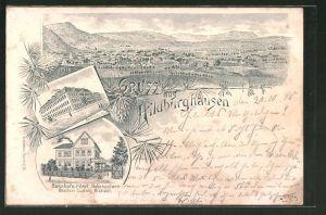 Lithographie Hildburghausen, Bahnhofs-Hotel Hohenzollern von L. Michael, Technikum
