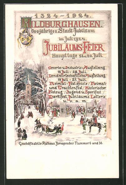 Künstler-AK Hildburghausen, Feier zum 600-jährigen Stadt-Jubiläum 1924