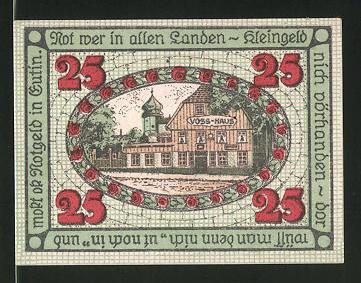 Notgeld Eutin 1920, 25 Pfennig, Stadtwappen, Voss-Haus