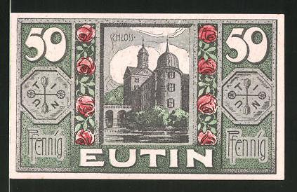 Notgeld Eutin 1920, 50 Pfennig, Stadtwappen, Schloss