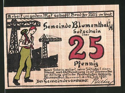 Notgeld Blumenthal (Hannover) 1921, 25 Pfennig, Schiffswerft und Werftarbeiter, Frau mit Paket