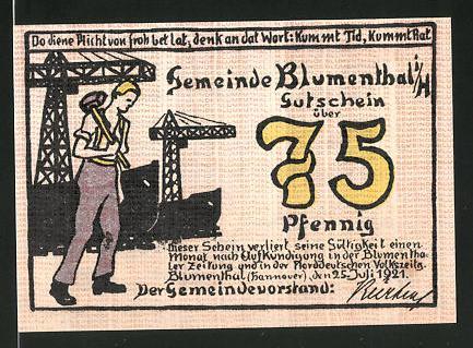 Notgeld Blumenthal (Hannover) 1921, 75 Pfennig, Schiffswerft und Werftarbeiter, Frau mit Paket