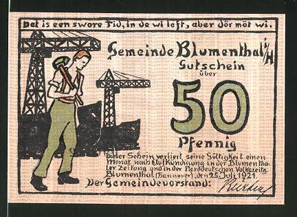 Notgeld Blumenthal (Hannover) 1921, 50 Pfennig, Schiffswerft und Werftarbeiter, Frau mit Paket