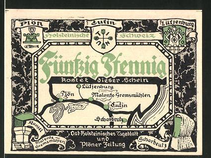 Notgeld Eutin, 50 Pfennig, Wappen der Ortschaften der Holsteinischen Schweiz, Siebenstern bei Plön