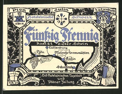 Notgeld Eutin, 50 Pfennig, Wappen der Ortschaften der Holsteinischen Schweiz, Uglei-See bei Malente