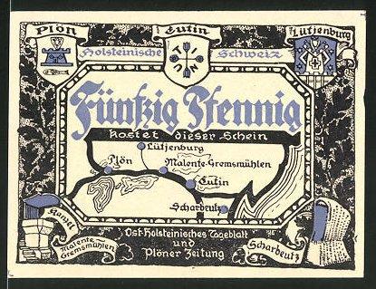 Notgeld Eutin, 50 Pfennig, Wappen der Ortschaften der Holsteinischen Schweiz, Kammer bei Scharbeutz