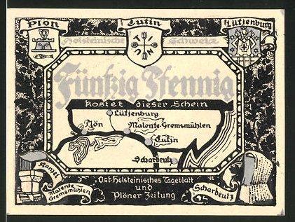 Notgeld Eutin, 50 Pfennig, Wappen der Ortschaften der Holsteinischen Schweiz, Hessenstein bei Lütjenburg