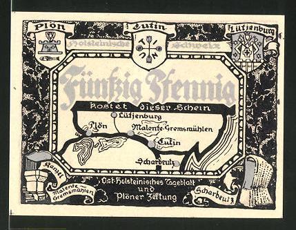 Notgeld Eutin, 50 Pfennig, Wappen der Ortschaften der Holsteinischen Schweiz, Tempel im Schlossgarten