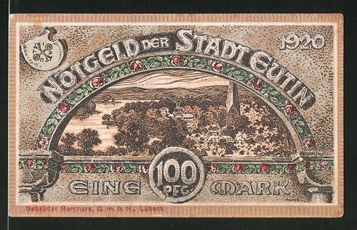 Notgeld Eutin 1920, 100 Pfennig, Ortsansicht und Stadtwappen, Stadtwappen