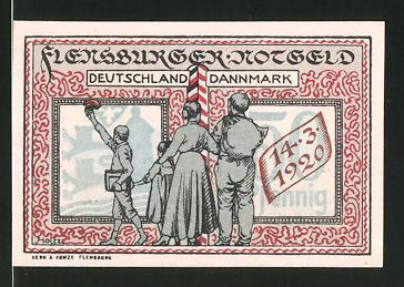 Notgeld Flensburg 1920, 50 Pfennig, deutsch-dänische Grenze