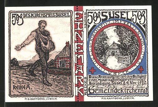 Notgeld Süsel 1920, 1 Mark, Bauer beim Säen und Bauernhaus, Pokal und Kirche