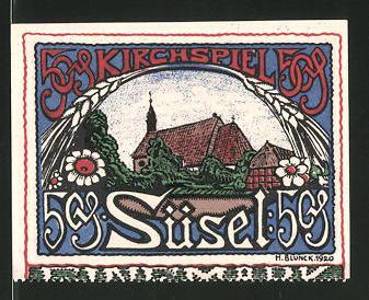 Notgeld Süsel 1920, 50 Pfennig, Kirche, Bauernhaus