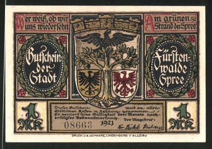 Notgeld Fürstenwalde an der Spree 1921, 1 Mark, Stadtwappen, Plünderung Fürstenwalde 1631
