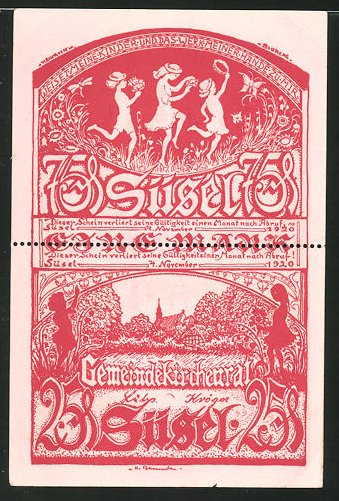 Notgeld Süsel 1920, 1 Mark, tanzende Kinder und Kirche, Bauernhaus
