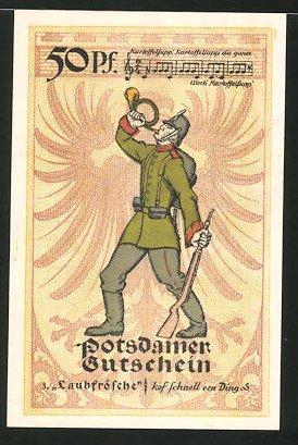 Notgeld Potsdam 1921, 50 Pfennig, Stadtwappen, Infanterist bläst Horn