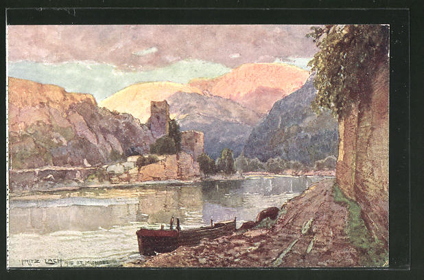 Künstler-AK Fritz Lach: St, Michael an der Donau, Teilansicht mit Bergpanorama
