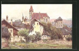 Künstler-AK Fritz Lach: Weissenkirchen an der Donau, Gesamtansicht