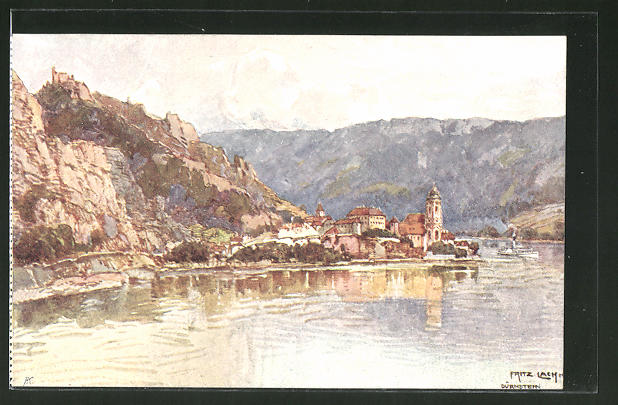 Künstler-AK Fritz Lach: Dürnstein an der Donau, Blick zum Ort