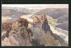 Künstler-AK Fritz Lach: Ruine Aggstein