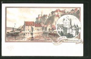 Künstler-AK Karl Mutter: Meersburg am Bodensee, Ortsansicht