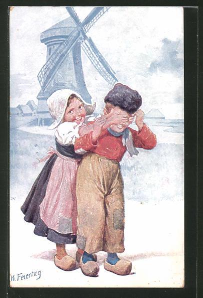 Künstler-AK Karl Feiertag: Junge und Mädchen in holländischer Tracht vor Windmühle