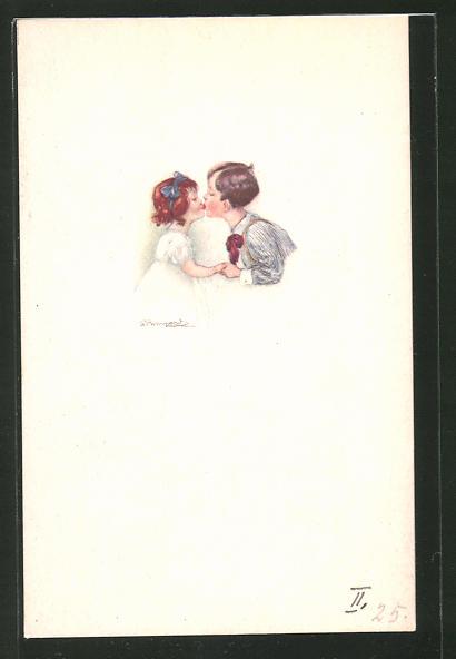 Künstler-AK Sergio Bompard: Junge und Mädchen beim Küssen