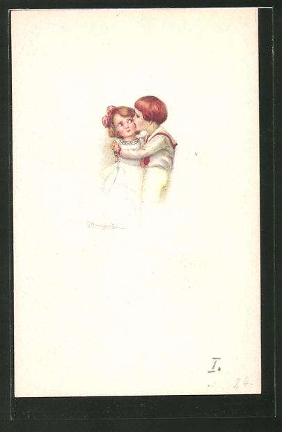 Künstler-AK Sergio Bompard: Junge küsst Mädchen