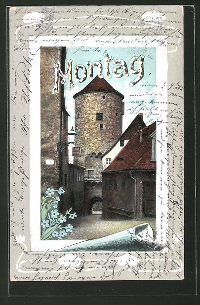 AK Montag, Turm in Altstadt, Allegorie