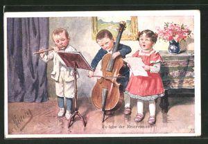 Künstler-AK Karl Feiertag: Es lebe der Reservemann, Musizierende Kinder