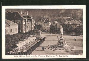 AK Bozen, Walterplatz mit Denkmal Walters von der Vogelweide