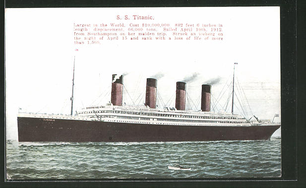 AK Passagierschiff SS Titanic, largest ship in the world 0
