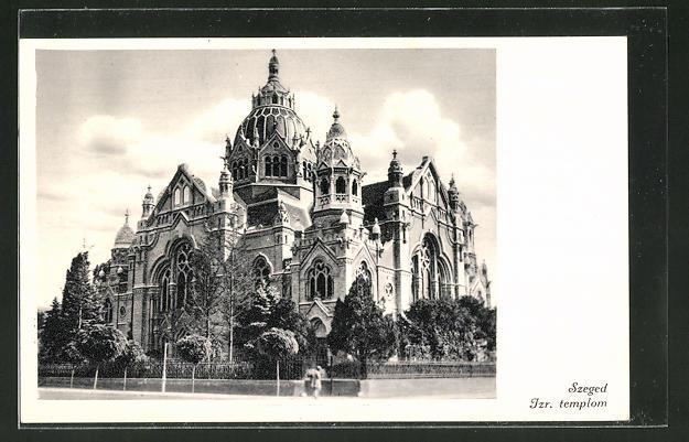 AK Szeged, Izr. templom, Blick zur Synagoge