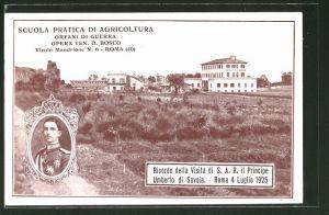 AK Roma, Scuola Pratica di Agricoltura, Orfani di Guerra, Opera Ven. D. Bosco, Principe Umberto di Savoia, 1925