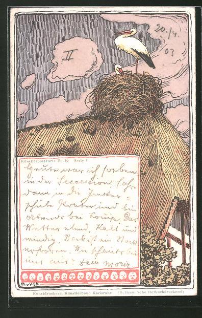 Künstler-Lithographie Hans von Volkmann: Storchennest auf Hausdach