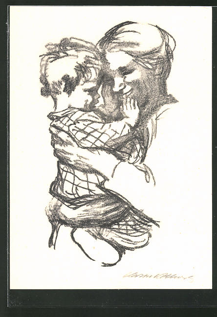 Künstler-AK Käthe Kollwitz: Mutter mit Kind auf dem Arm