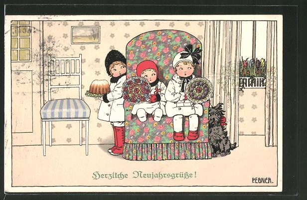 Künstler-AK Pauli Ebner: Neujahrsgrüsse!, Kinder mit Blumen und Kuchen