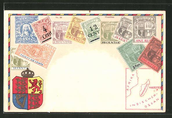 AK Mauritius, Briefmarken, Wappen und Landkarte