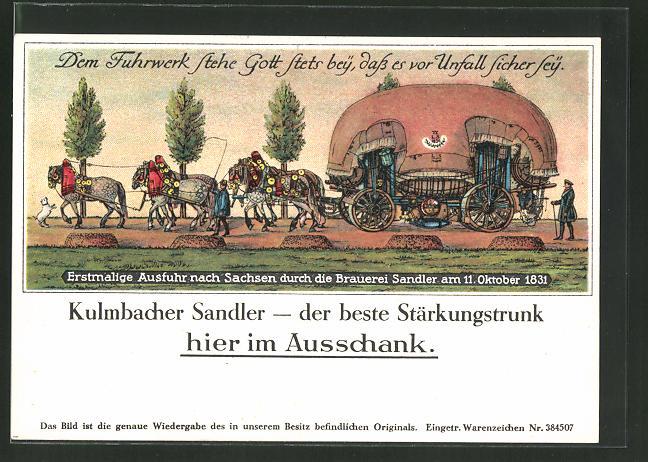 AK Kulmbach, Erstmalige Ausfuhr nach Sachsen durch die Brauerei Sandler 1831