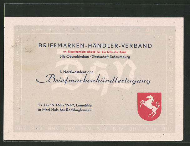 AK Marl-Hüls, 1. Nordwestdeutsche Briefmarkenausstellung 1947